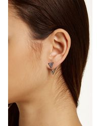 Nadri | Multicolor Crystal Pave Triangle Ear Jacket Earrings | Lyst