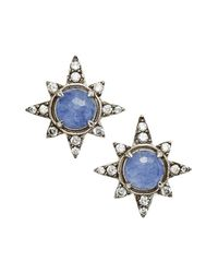 Nadri | Blue Holiday Star Stud Earrings | Lyst