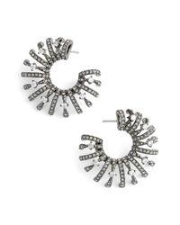 Nadri | Black 'liliana' Cubic Zirconia Hoop Earrings | Lyst