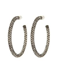 Nadri - Multicolor Gun-metal Medium Micropave Crystal Hoop Earrings - Lyst