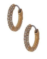 Nadri - Metallic Small Thin Pave Huggie Earrings - Lyst