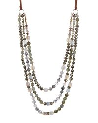 Chan Luu - Metallic Sterling Silver Labradorite, Pyrite, Agate & Grey Cloudy Quartz Necklace - Lyst