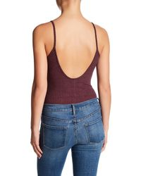 NYTT - Purple Wide Rib Skinny Bodysuit - Lyst