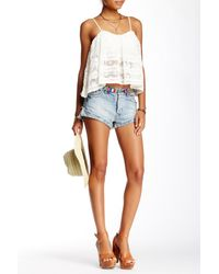Free People - Blue Lacey Denim Cutoff Shorts - Lyst