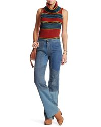Free People   Blue Alissas Patchwork Flare Jean   Lyst