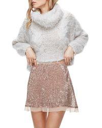 Free People   Pink Sequin Mesh Miniskirt   Lyst