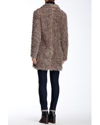 Steve Madden - Gray Faux Fur Coat - Lyst
