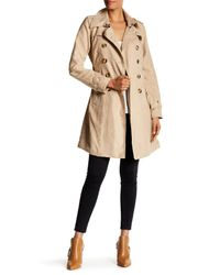 Steve Madden | Natural Double Breasted Belted Faux Suede Trench Coat | Lyst