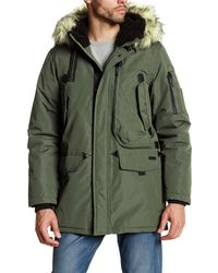 Ben Sherman | Green Faux Fur Trim Hooded Parka Jacket for Men | Lyst