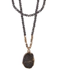 Panacea - White Hematite Layered Druzy Pendant Necklace - Lyst