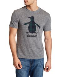 Original Penguin - Gray Tartan Pete Tee for Men - Lyst