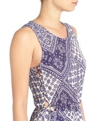 Mimi Chica | Blue Print Side Tie Romper | Lyst