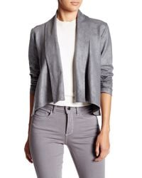 NYDJ | Gray Coated French Terry Shawl Jacket (petite) | Lyst