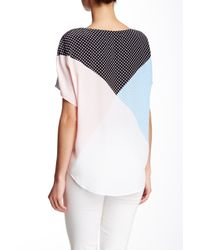 Equipment - Blue Etta Dot-print Short-sleeve Blouse - Lyst