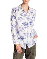 Equipment | Blue Slim Signature Long Sleeve Silk Blouse | Lyst