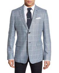 Jack Spade | Blue Trim Fit Windowpane Silk Blend Sport Coat for Men | Lyst