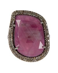 Adornia - Pink Sapphire And Champagne Diamond Gemma Ring - Lyst