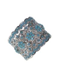 CZ by Kenneth Jay Lane | Blue Floral Filigree Pave Scalloped Ring | Lyst