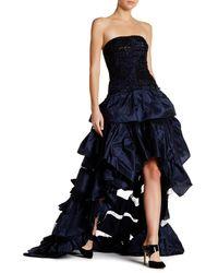 Oscar de la Renta | Blue Embellished Strapless Ruffle Gown | Lyst