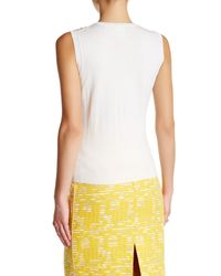 Oscar de la Renta | Multicolor Sleeveless Embellished Wool Blend Sweater | Lyst
