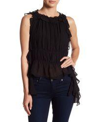 Rachel Zoe | Black Bonnie Sleeveless Ruffle Tie Silk Blouse | Lyst