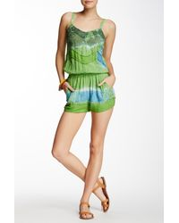 Raga - Green Sleeveless Tie-dye Romper - Lyst