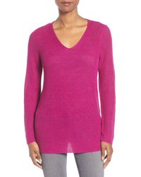 Eileen Fisher | Pink V-neck Organic Linen Sweater | Lyst