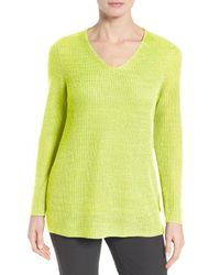 Eileen Fisher | Yellow V-neck Organic Linen Sweater | Lyst