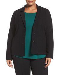 Eileen Fisher | Black Notch Collar Merino Wool Jacket (plus Size) | Lyst