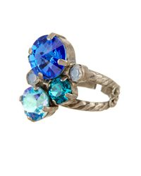 Sorrelli - Blue Assorted Swarovski Crystal Round Ring - Lyst