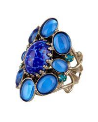 Sorrelli | Blue Oval Stone Swarovski Crystal Cluster Ring | Lyst