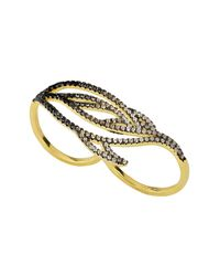 Noir Jewelry - Metallic Lustrous Pave Two-finger Ring - Lyst