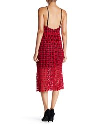 Romeo and Juliet Couture - Red Crochet Midi Dress - Lyst