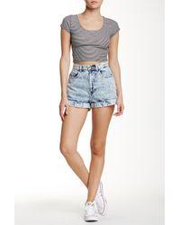 American Apparel - Blue Denim High-waist Cuff Short - Lyst