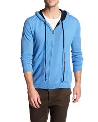 Autumn Cashmere | Blue Contrast Zip Up Cashmere Hoodie for Men | Lyst