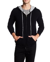 Autumn Cashmere - Black Contrast Zip Up Cashmere Hoodie for Men - Lyst