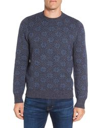Grayers | Blue Snowflake Wool & Cotton Crewneck Sweater for Men | Lyst