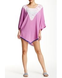 Gypsy 05 | Purple Pompom Trim Cover Up | Lyst