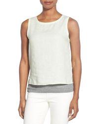Eileen Fisher - White Organic Linen Round Neck Shell - Lyst