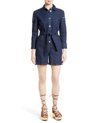 360284553f7f Lyst - See By Chloé Embroidered Denim Romper in Blue