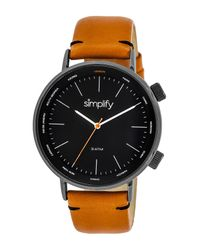 Simplify - Multicolor Unisex The 3300 World Time Zone Leather Strap Watch - Lyst