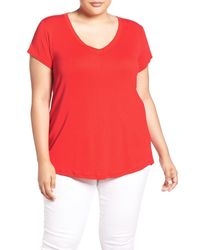 Sejour | Red Short Sleeve V-neck Tee | Lyst