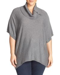 Sejour | Gray Button Cowl Neck Short Sleeve Sweater (plus Size) | Lyst