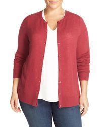 Sejour - Multicolor Crewneck Wool & Cashmere Cardigan (plus Size) - Lyst