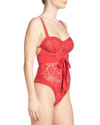 For Love & Lemons - Red V-day Underwire Bodysuit - Lyst