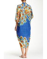 Subtle Luxury - Blue Printed Kimono Linen Shrug - Lyst