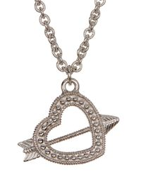 Judith Ripka | Metallic Sterling Silver Arrow Heart Charm Necklace | Lyst