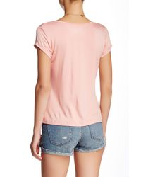 Sweet Romeo | Pink Short Sleeve Sccop Neck Pocket Tee | Lyst