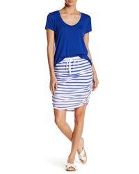Splendid | Blue Shirred Striped Pencil Skirt | Lyst