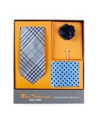 Ben Sherman - Blue Silk Plaid Tie, Dot Pocket Square, & Lapel Pin Box Set for Men - Lyst